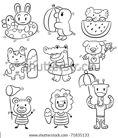 hand draw cartoon summer animal icon - stock vector
