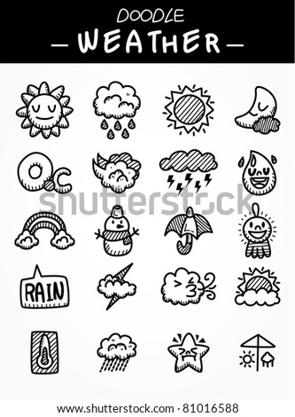 hand draw cartoon weather icons set - stock vector