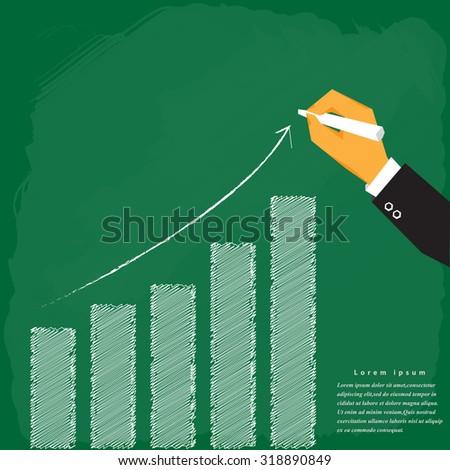 Hand Draw Chalk On Board .Vector Illustration. - stock vector