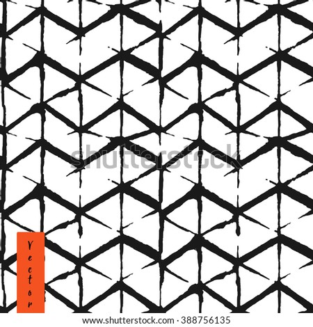 Hand draw chevron pattern in vector - stock vector