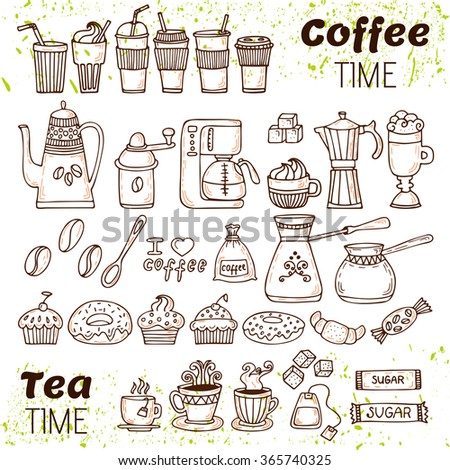 Hand draw coffee and tea collection. Sketch doodles coffee and tea elements. Vector illustration - stock vector