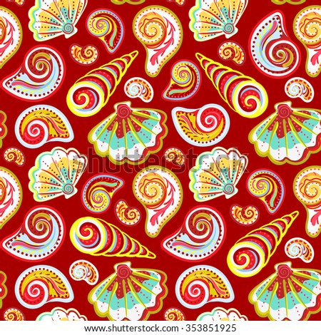 Hand draw colorful sea shells pattern. Seamless texture with hand painted oceanic life objects. Vector summer background