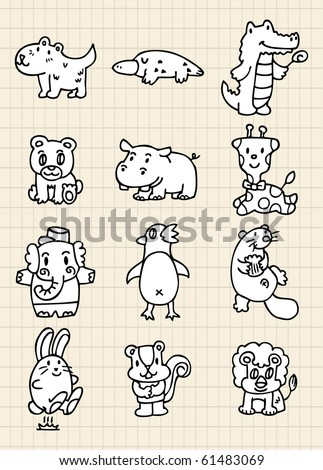 hand draw cute animal - stock vector