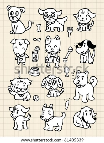 hand draw cute dog element - stock vector