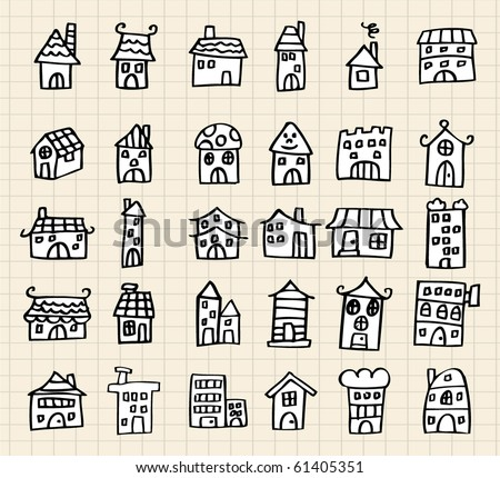 Cute House Draw Stock Vector 61859941 - Shutterstock