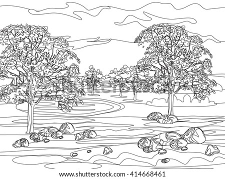 Hand draw decorative landscape trees and stones illustration with decorative lines.Vintage stylized landscape painting for color. Black and white coloring pages for adults. Vector illustration. - stock vector