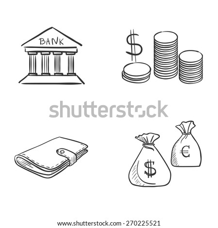 hand draw doodle bank coin money cash wallet, excellent vector illustration, EPS 10 - stock vector