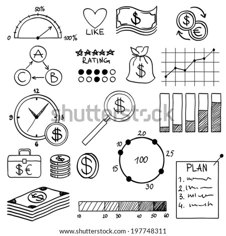 Hand draw doodle elements money and coin icon, chart graph. Concept bank business finance analytics earnings - stock vector