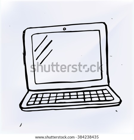hand draw doodle laptop, computer vector illustration computer - stock vector