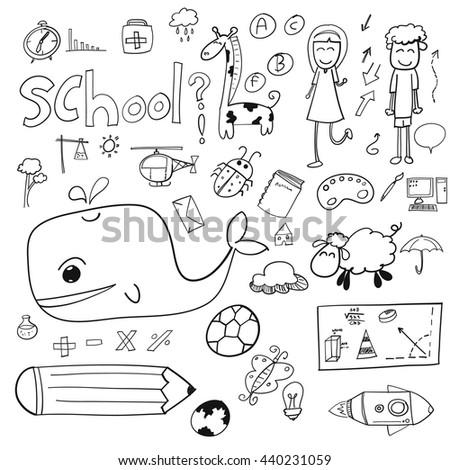 hand draw doodle school icon  - stock vector