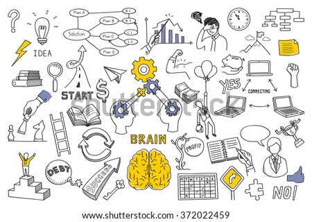 Hand draw doodles vector illustration set in concept of brain, thinking, business solution, method, strategy, object, opportunity, success, idea. Sketching or drawing style.  - stock vector