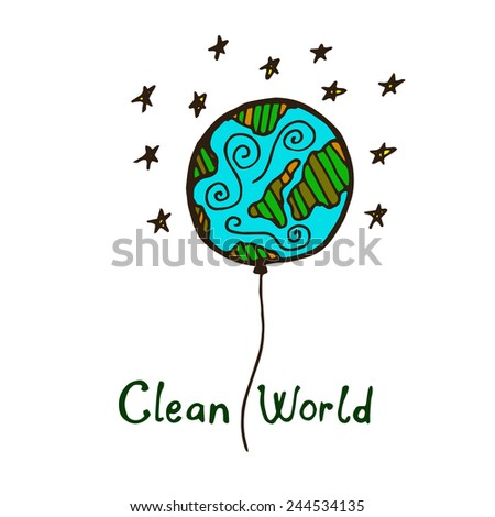 hand draw eco illustration - stock vector