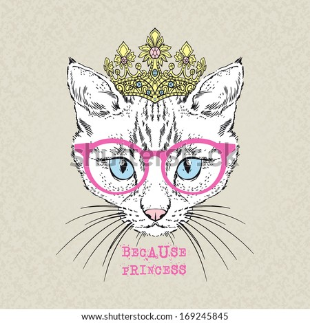 Hand draw fashion portrait of cat girl princess - stock vector