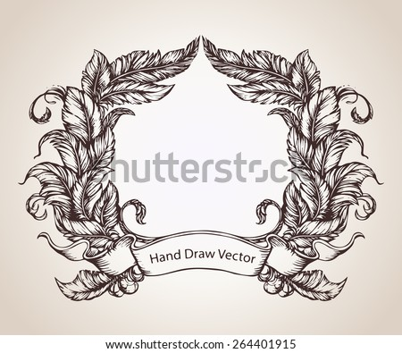 Hand draw feather frame - stock vector