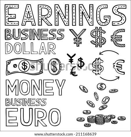 Hand draw finance and money doodle sketch business icon, dollar euro sign papper currency. - stock vector