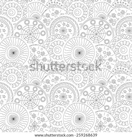 Hand draw floral seamless pattern in black and white - stock vector