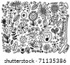 hand draw flower element - stock vector