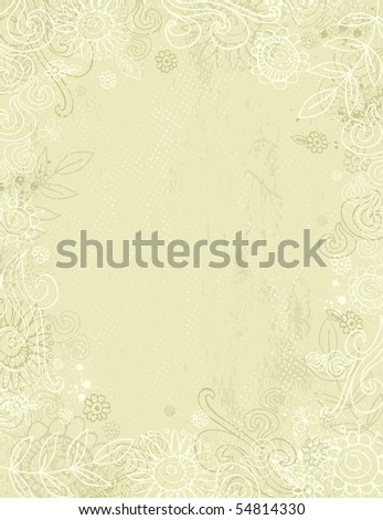 hand draw  flowers on beige background - stock vector
