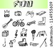 hand draw fun element icons set - stock vector