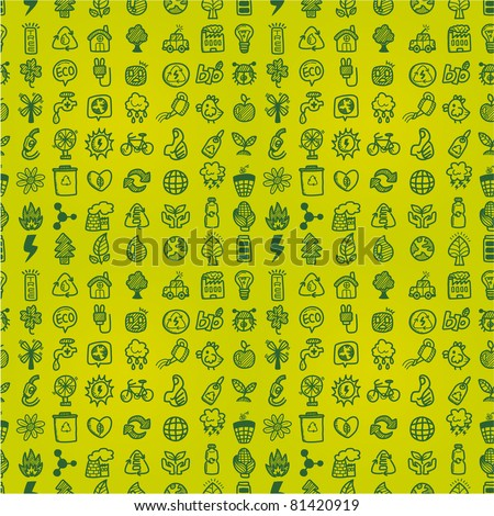 hand draw green eco seamless pattern - stock vector