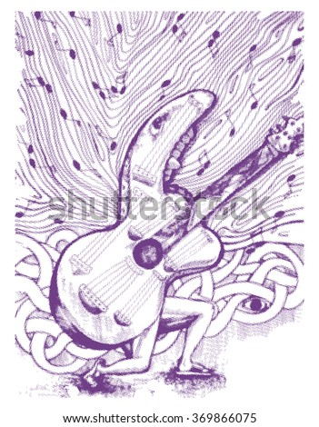 hand draw guitar with music notation vector illustration isolated on white - stock vector