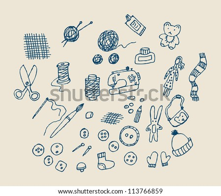 Hand draw handmade objects Set of hand ink drawn objects about handmade. Monochrome illustration. - stock vector