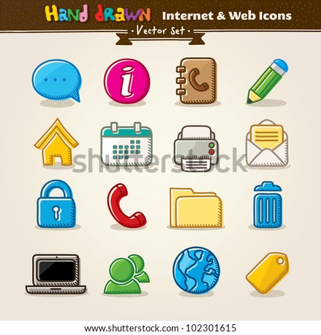 Hand Draw Internet And Web Icon Set. Vector illustration. - stock vector