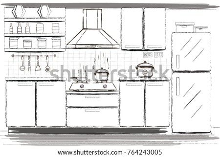 ... Hand Draw Kitchen Furniture Sketch Stock Vector 764243005 ... Kitchen  Furniture Drawing On Kitchen ...
