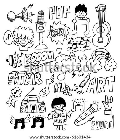 hand draw music element - stock vector