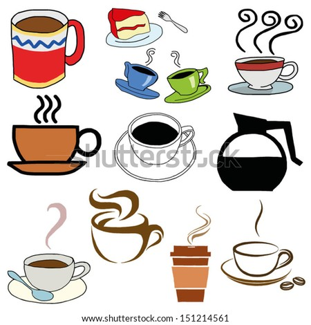 Hand draw of colorful coffee cup sets. Tea cup. Vector illustration.