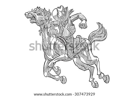 Hand draw of Cowboy riding horse in zentangle style