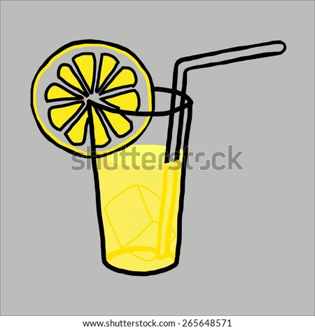 Hand draw of fruit juice and smoothie drink illustration on background - stock vector