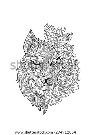 hand draw half wolf half lion stock vector 294912854
