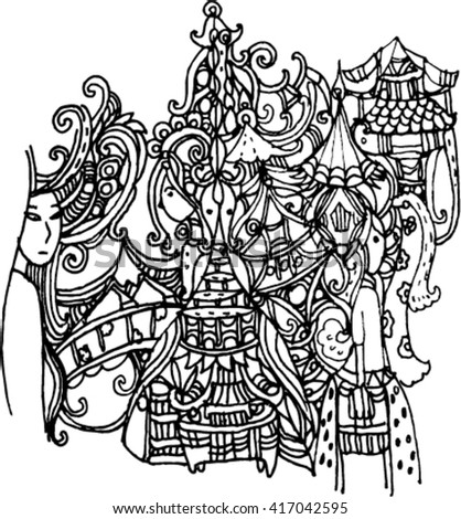hand draw of imagination line art create for card