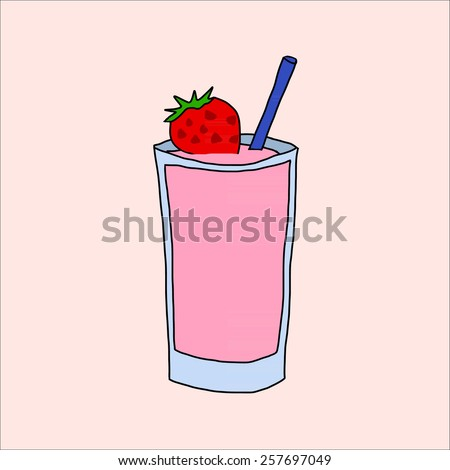 Hand draw of strawberry smoothie drink illustration on background - stock vector