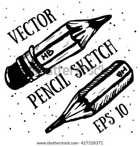 Hand draw pencil sketch. Vector illustration. pencil sketch, pencil vector, pencil comic, pencil icon, pencil art, cartoon pencil, pencil set, pencil doodle, pencil ink, pencil element. - stock vector