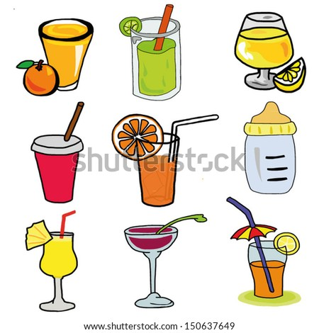 Hand draw set of various colorful drinks, vector drink illustraton - stock vector