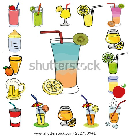 Hand draw set of various colorful drinks, vector smoothies drink illustration - stock vector