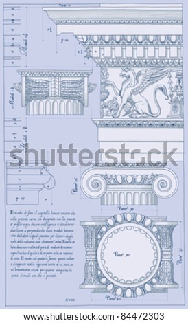"""Hand draw sketch ionic architectural order based """"The Five Orders of Architecture"""" is a book on architecture by Giacomo Barozzi da Vignola from 1593. - stock vector"""