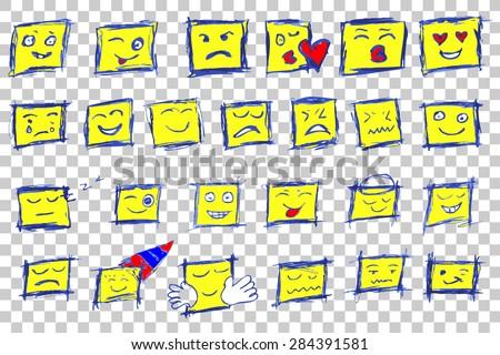 hand draw sketch of emoticon  - stock vector