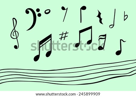 Hand draw sketch of musical note  - stock vector
