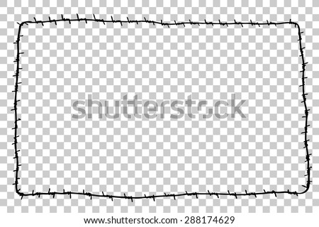 Hand Draw sketch of rectangle Barbed Wire  - stock vector