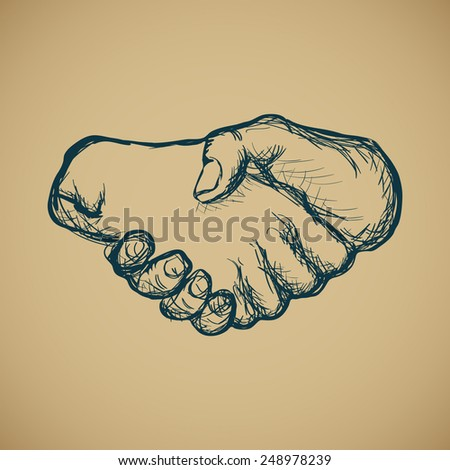 Hand draw sketch of vintage style hand shake vector illustration