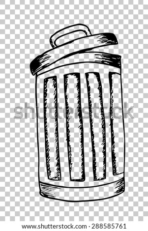 hand draw sketch, Rubbish bin filled with waste  - stock vector