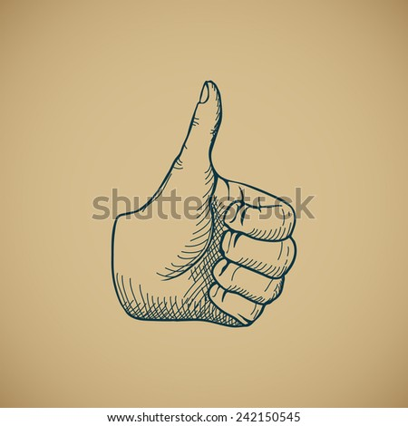 Hand draw sketch vintage thumbs up vector illustration - stock vector