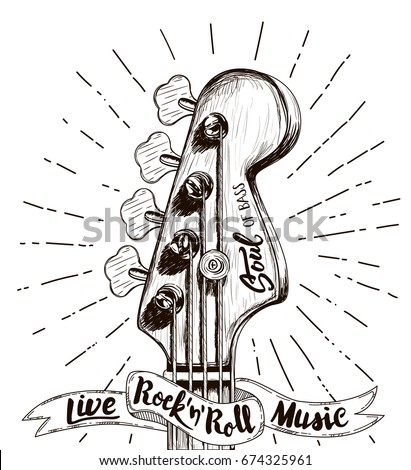 Hand draw sketch with bass guitar for rock festival poster vector illustration isolated rock