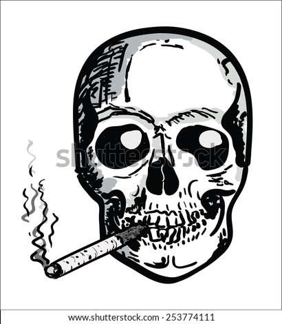 Hand draw Skull - smoking cigarette - stock vector