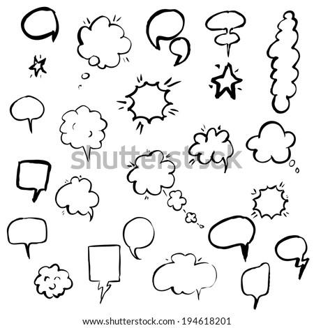 Hand Draw Speech Bubble, Vector Illustration - stock vector