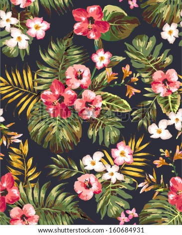 Hand Draw Tropical Flowerblossom Cluster Pattern Background