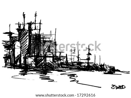 hand draw urban city silhouette - stock vector
